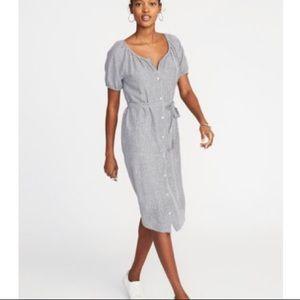 Old Navy Linen Blend Pinstripe Shirt Dress